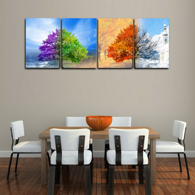 4 Pannelli 4 stagione Alberi Grande HD Print Canvas Pittura per ...
