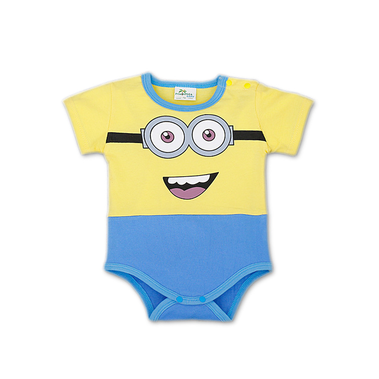 2017 summer infant baby   rompers   Cotton cartoon cute yellow minions newborn unisex baby clothes Jumpsuit toddler costume