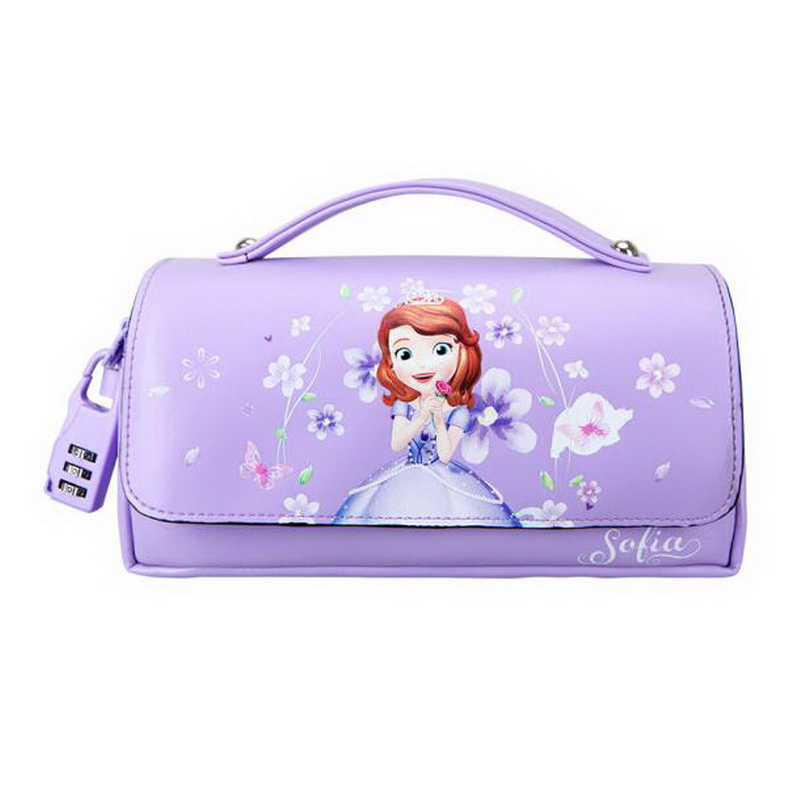 160906/Disney Sufiya Korean pencil pants female primary and secondary students multi - layer pencil case PU leather purple сумка disney af2530 05 2015 pu af2530 05
