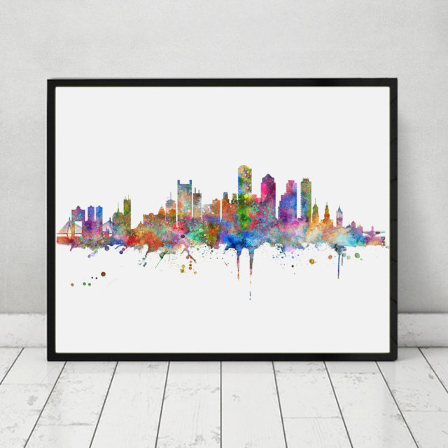 Boston skyline art print painting inspirational city skyline wall art poster boston city watercolor art decor