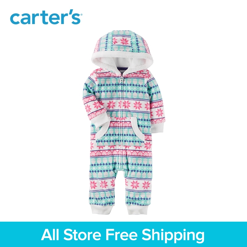 Super soft and cozy hoodie fleece Zip-front Print jumpsuit Carter's baby girl clothing fall winter 118H683 цена 2017