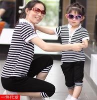 2015 Summer Stripe Mother And Daughter Son Clothes Matching Family Clothing Sets Family Look Child Outfits