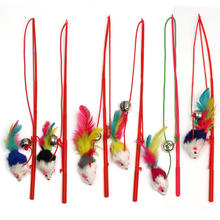 Pets Toys Faux Plush Mouse Wire Feather Rope Rod Wand Pole Plastic Stick with Bell Pet Cats Toys Funny Fun Playing Toy Supplies
