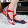 Новые Моды для Женщин Повседневная Плюс Размер Старый Пекин Мэри Джейн Квартиры Цветочные Обувь Девушку Вышитые Китайский Стиль Ткань Обувь Для Ходьбы
