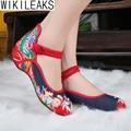 Novas Mulheres Casuais Moda Plus Size sapatos Velhos Pequim Sapatos Mary Jane Flats Florais Mulher Bordado Estilo Chinês Pano Sapatos