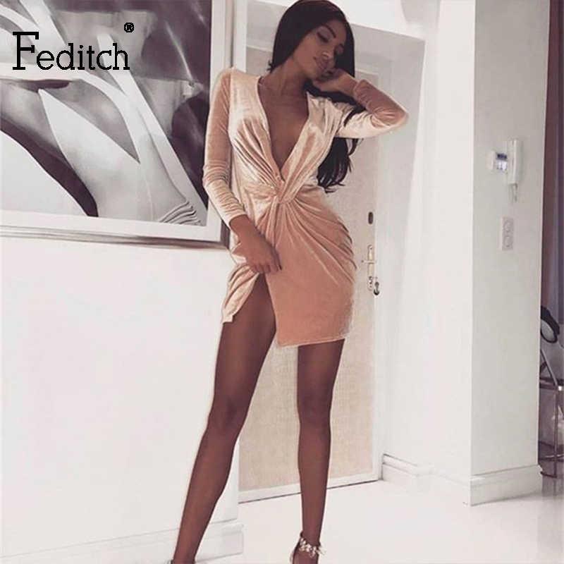 893a874e Feditch fashion Mini Summer Dress Deep V- neck sexy dress women Bodycon  Robe femme ete