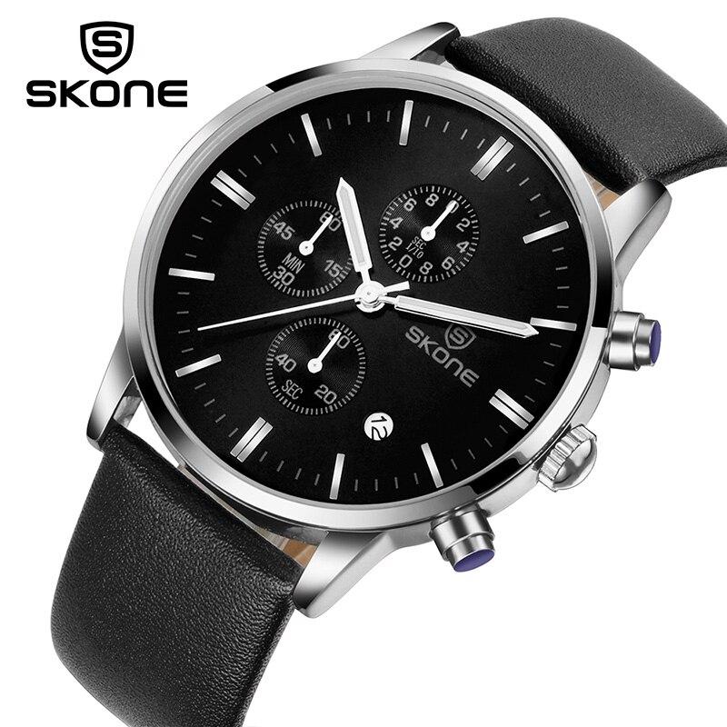 SKONE Dress Multifunction Dials Men Watch Brand Luxury Mens Quartz Wrist Watch Leather Watches Relogio Masculino Relojes Hombre skone relogio 9385
