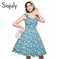 Sisjuly vintage dress print floral A-line sleeveless collar zipper cotton fashion 2017 spring summer party women vintage dresse