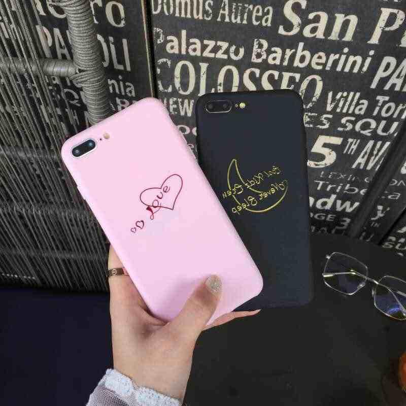 2018 愛の心ムーン柄ゴールドラブレターマットケース iphone × 6 6 s プラス 7 8 プラスキャパソフト TPU シリコンソフト裏表紙