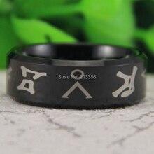 Free Shipping USA Canada Russia Brazil Hot Sales 8MM Comfort Fit Shiny Black Bevel Stargate Address Men's Tungsten Wedding Ring стоимость
