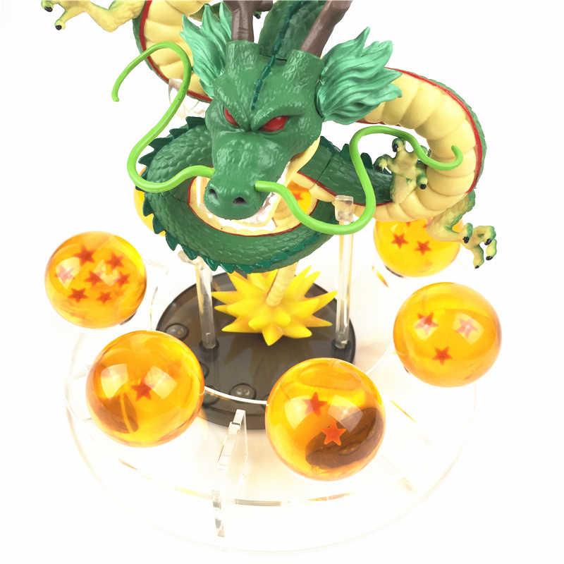 Anime dragon ball z figuras de ação shenron dragonball z figuras definir esferas del dragão + 7 pçs 3.5cm bolas prateleira figurinhas dbz brinquedos