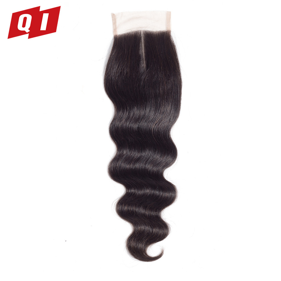 "QI Hair Body Wave Malaysian Lace Closure With Baby Hair Non Remy Hair Natural Color 8""-20"" Swiss Lace Human Hair Closure"