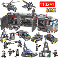 Military City Police Station Building Blocks Compatible LegoINGly City SWAT Team Truck Blocks Educational Children Toys Gifts