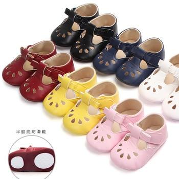 9d29a48b1 Chica negro zapatos de bebé de cuero de bebé duro Rosa suela de goma Zapatos  recién nacido chica prewalk zapatos para 0-18 meses los bebés