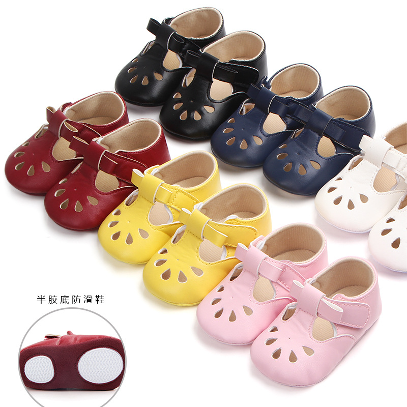 Black Girl Leather Baby Shoes Infant PINK  Hard Rubber Sole Shoes Newborn Girl Prewalk Shoes For 0- 18months Babies