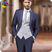 Italian Navy Blue Men Suits Peaked Lapel Grey Vest Slim Fit Groom Wedding Wear Ternos Groomsmen Suit Blazer 3Piece Costume Homme