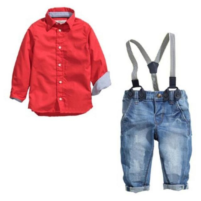 Childrens clothing set, Spring Autumn Gentleman solid Clothing Suit For 2-7years old kids, Red Shirt + Suspender Trousers XV2