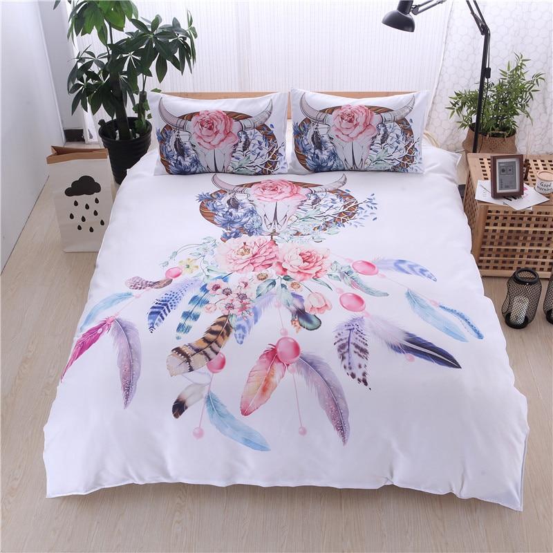 2018 new bohemian feather printed duvet cover set 2 3pcs bedclothes bed linen bedding sets no. Black Bedroom Furniture Sets. Home Design Ideas