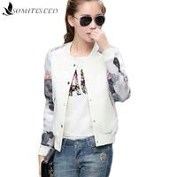 2016 Flower Print Plus Size Leisure Baseball Jacket Women Round Collar Button Thin Bomber Jacket Long