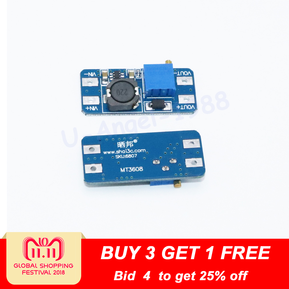 1pcs DC DC step up converter boost 2A power supply module IN 2V- 24V to OUT 5V-28V adjustable regulator board Dropship