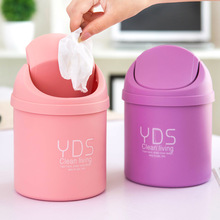 Creative mini desktop bin desk covered small trash cans sitting room sundry receive cleaning barrel