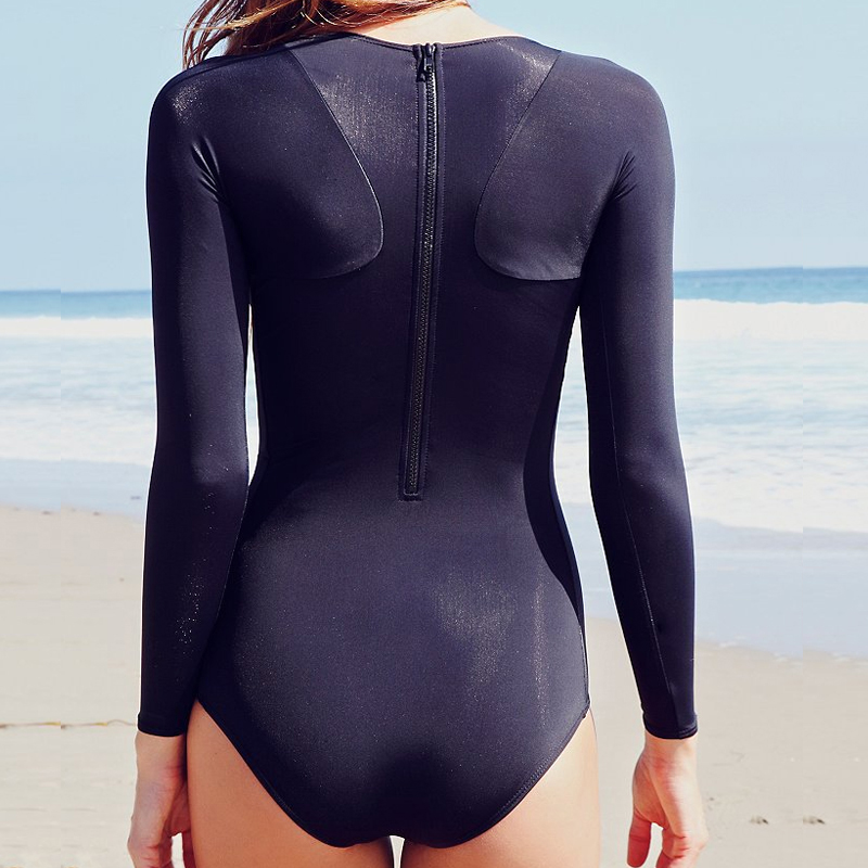 ae3bda92b8f One Piece Bathing Suits For Women Black Swimwear Women Long Sleeve Sexy One  Piece Swimsuit New Style Monokini Swimsuit-in Body Suits from Sports ...