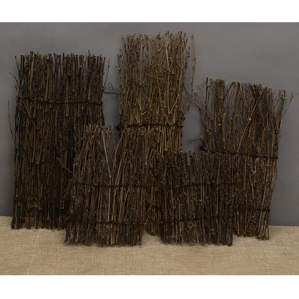 Natural Garden Fence Screen Divider Border Bamboo Slat Reed Brushwood Roll 27x11cm Miniature Home Garden Bonsai Decor