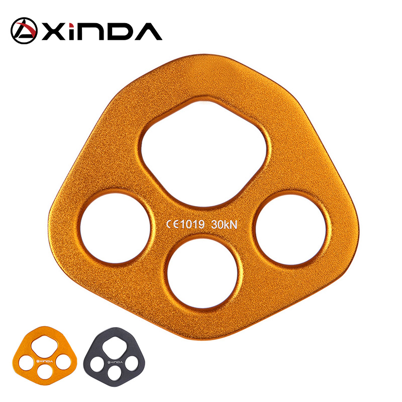 XINDA Professional Accessory Split Rope Plate Divide 4-hole Force Plate Outdoor Attrezzature per arrampicata su roccia a quattro fori