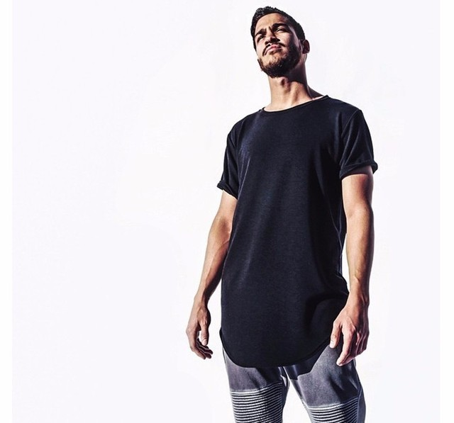 1159fdfb0 Curved Hem Hip Hop T-shirt Men Urban Kpop Extended T shirt Plain Longline  Mens Tee Shirts Male Clothes Justin Bieber Kanye West