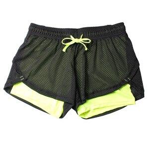 Image 5 - 2018 yaz çift katmanlı şort kadın sıska Fitness şortu kadın elastik rahat şort kadın Joggings pantalones cortos mujer