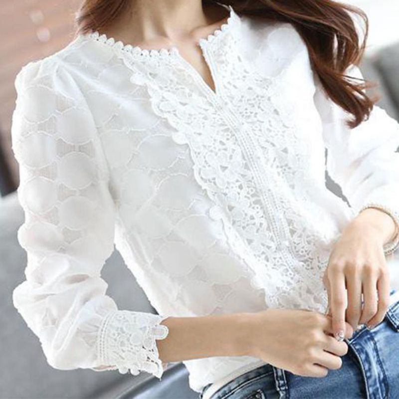 2017 New Autumn Spring Casual Basic Women Lace Chiffon   Blouse     shirts   Solid Tops White blusas Long sleeve OL Embroidery Big size