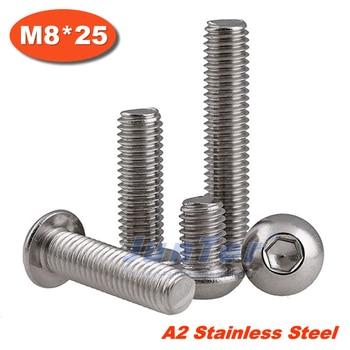 100pcs/lot ISO7380 M8*25 Stainless Steel A2 Hexagon Socket Button Head Screws