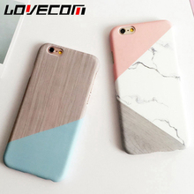 LOVECOM Geometric Splice Pattern Marble Hard PC Marble Phone Cases For iphone 6 6S Plus Case Back Cover