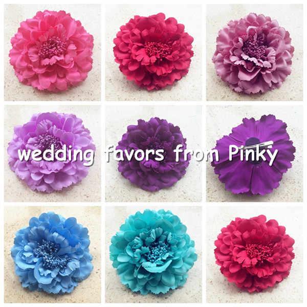 "48 Pcs 11 Cm/4.33 ""Kain Peony Rose Camellia Bunga Kepala dengan Pin 20 Warna untuk Pernikahan Natal pesta Bayi Rambut Klip Bunga"