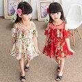 Vestidos 2017 nueva moda gasa floral grande pétalo mangas vestido de los niños ropa de la muchacha muchacha de la princesa vestidos de niña 3-7 edades