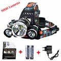 2016 New 9000 Lumen 3x XM-L T6 4 Modes Rechargeable LED Headlamp Head Lamps LED Headlight Light With Rechargeable 18650 Battery