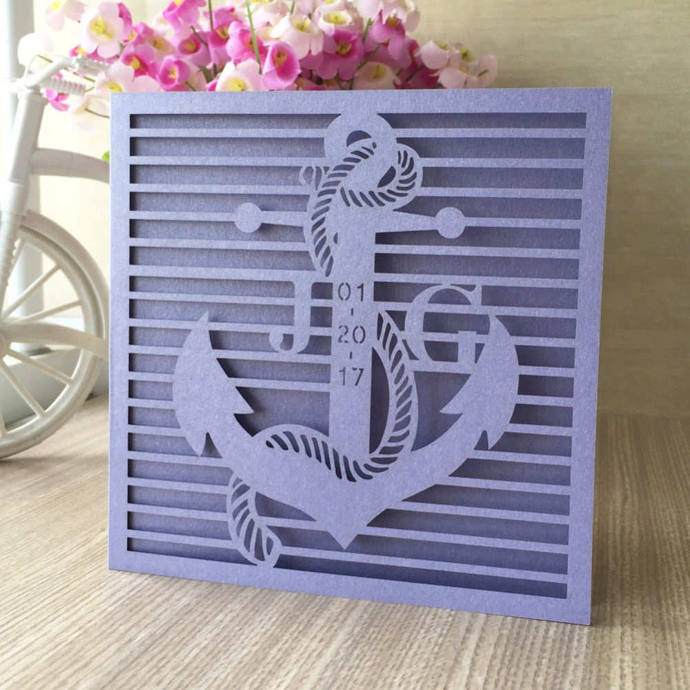 Good 12pcs Free Fast Shipping Seaman Design Laser Cut Wedding Invitation Card  Ocean Style Various Colors Top