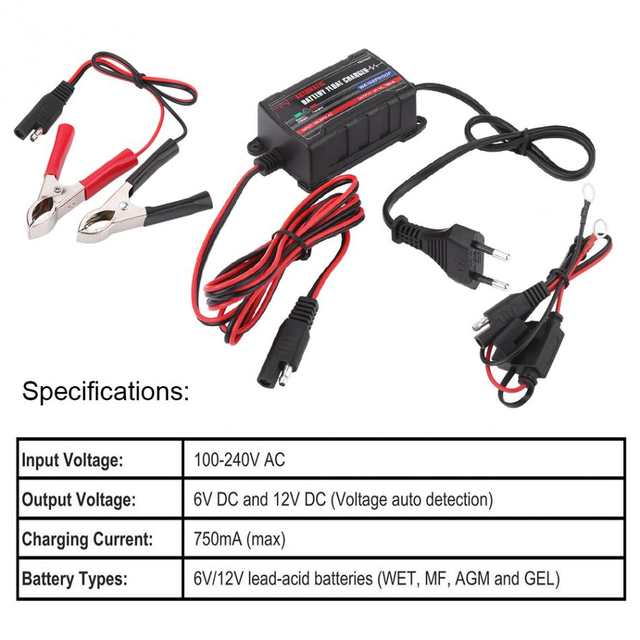US $19 92 20% OFF|0 75A 6V 12V Automatic Battery Trickle Charger Maintainer  for Car Motor ATV RV (European Plug) Battery Charger on Aliexpress com |