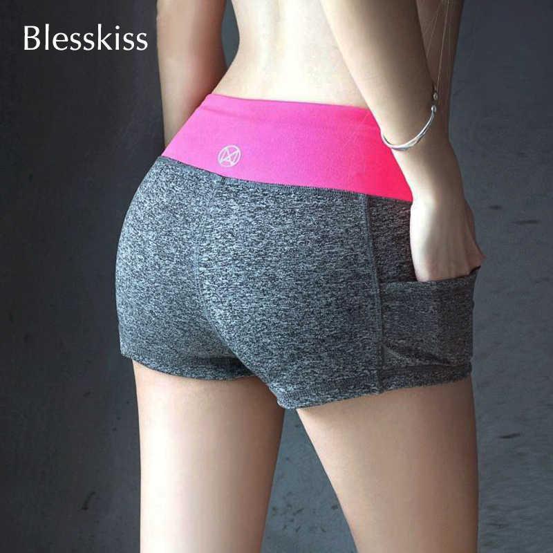Blesskiss spodenki do jogi stroje gimnastyczne damskie Fitness lato elastan Lulu kieszonkowe spodenki sportowe dla kobiet dopasowana krótka legginsy treningowe