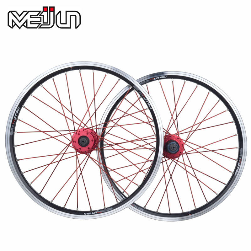 MEIJUN small wheel folding bicycle wheels 20-inch aluminum alloy quick release 406 V brake disc wheel hub rockbros titanium ti pedal spindle axle quick release for brompton folding bike bicycle bike parts