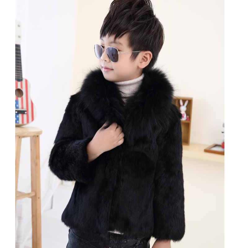 Children Rabbit Fur Coat Winter Boys Warm Short Outerwear Coat Baby Kids Fox Fur Collar Solid Casual Fur Coat Jackets MHC14 winter kids rex rabbit fur coats children warm girls rabbit fur jackets fashion thick outerwear clothes