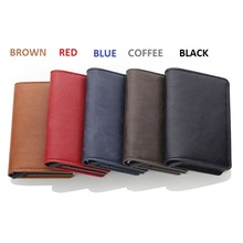 Wholesale 2019 Men And Women Credit Card Holder RFID Aluminium Business Crazy Horse PU Leather Travel Wallet