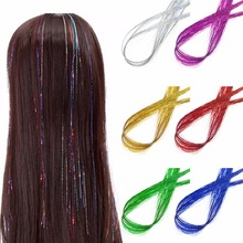 NEW Tinsel Hair Synthetic Extensions Flareing Accessories Tinsel Shiny Glitter 92cm 6 Color стоимость