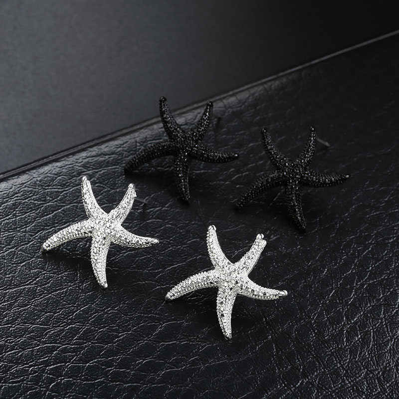 Starfish earrings Silver/black Color alloy Stud earring fashion jewelry for women party Accessories gift