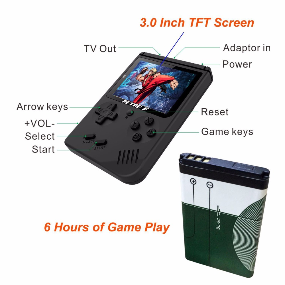 Coolbaby RS-6A Retro Portable Mini Handheld Video Game Console Gameboy 8-Bit LCD Kids Color TV Game Player Built-in 168 Games