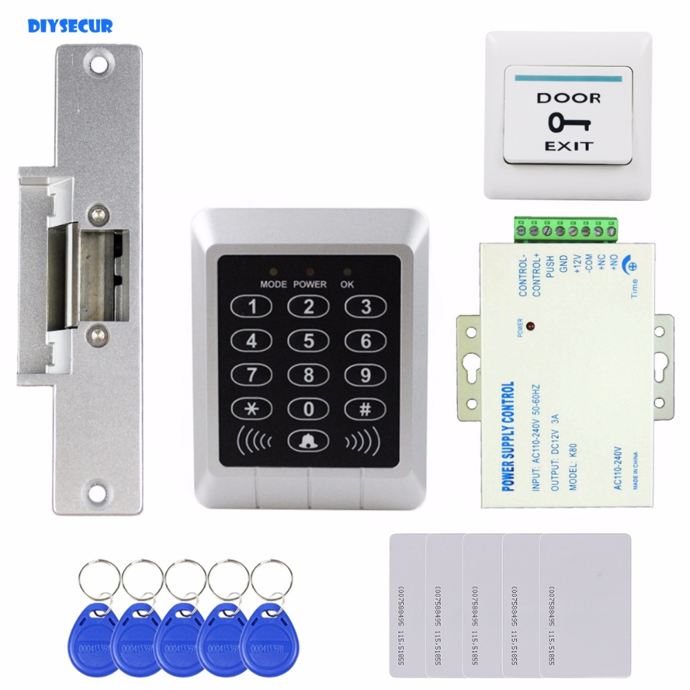 DIYSECUR Full Complete 125KHz Rfid Reader Keypad Card Door Access Control Kit + Strike Lock For Office / Home Improvement diysecur rfid keypad door access control security system kit electronic door lock for home office b100