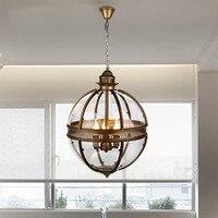 Винтажный чердак Глобус светодиодный E14 кулон освещение Кованое железо стекло тени кухня свет обеденный подвесной барные лампы светильник