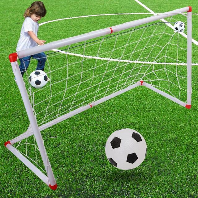 Indoor Outdoor Mini Children Football Soccer Goal Post Net Set with Ball Pump Kids Football Sport Toy Official Size