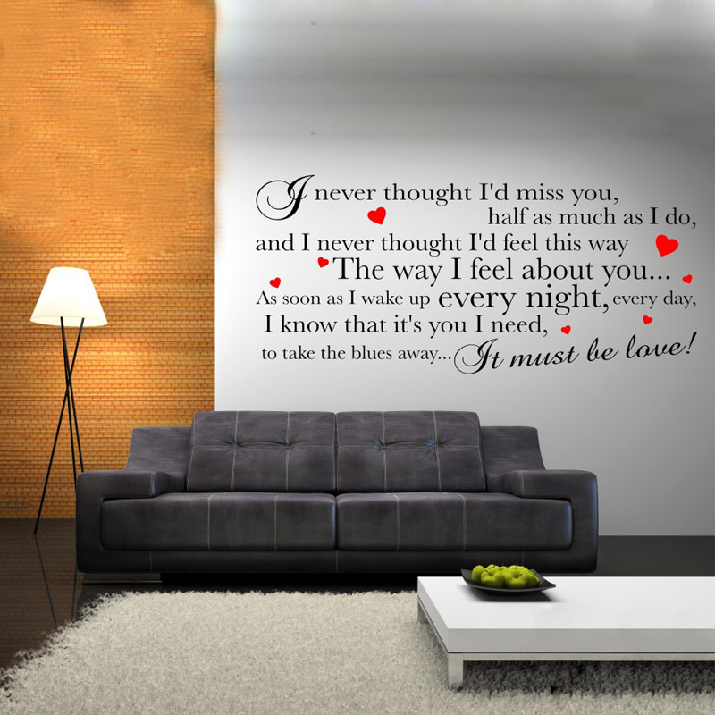 ZN G005 Madness It Must Be Love Lyrics Adult Teen Wall Art Sticker Decal Bedroom Quotes Vinyl Mural Study Room Decor