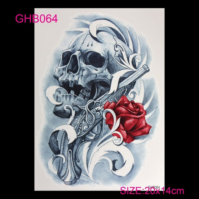 3D Colorful Hot Flashes Waterproof Temporary Tatoo Body Art Of Temporary Tattoo Sticker Set DIY Roses Skeleton Skull Tattoos